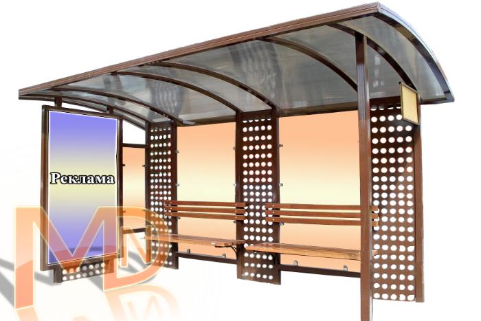 Остановочный павильон декорированный металлическими перфорированными листами